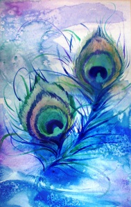 Peacock watercolour