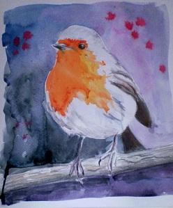 Little Robin Redbreast (pencil & watercolor)