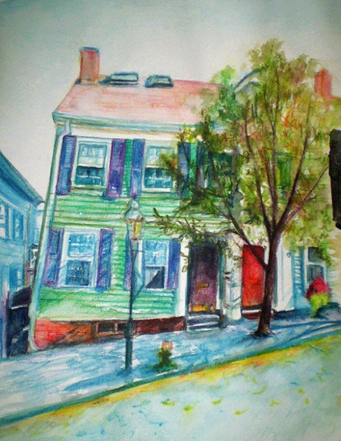 Crooked House with Purple Shutters, Boston