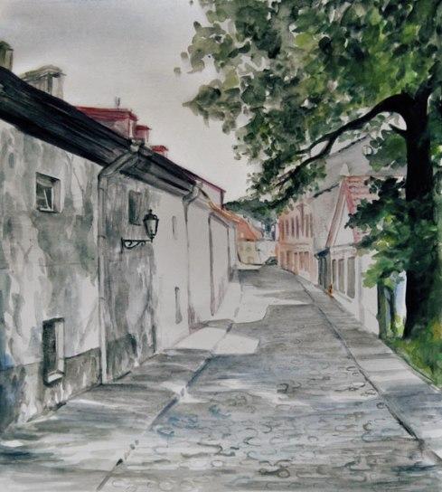 Quiet Cobblestone Street, Vilnius, Lithuania