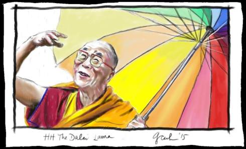 Dalai Lama drawing by G. Cseh